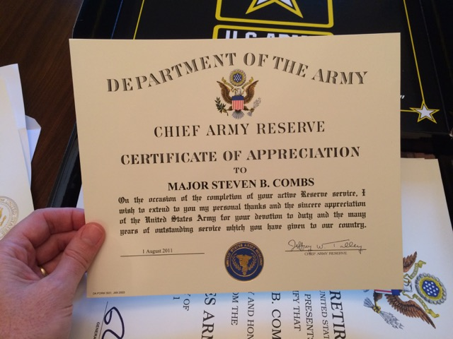 Steven Combs Army retirement package – Army Certificate of Appreciation