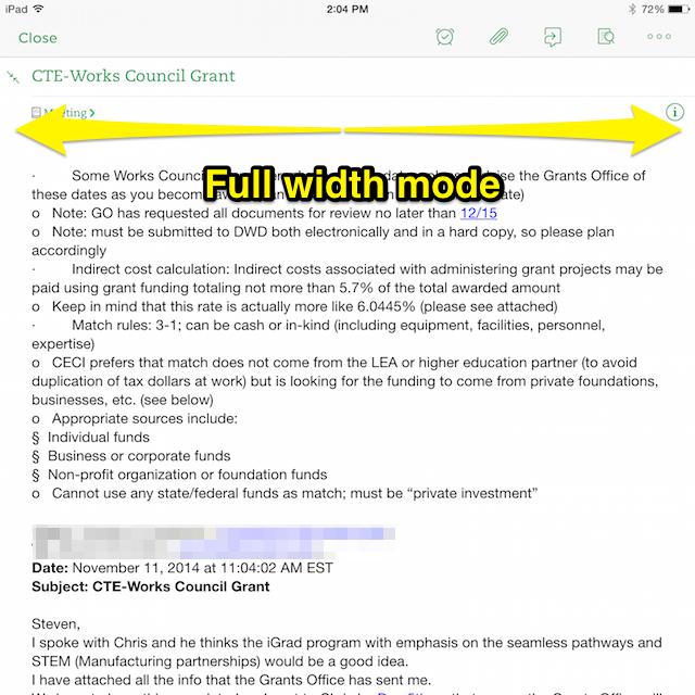 View and edit a note using the full width of the iPad screen